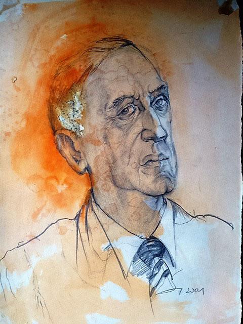 Dr. Severin, Oberbürgermeister der Stadt Celle. Zeichnung auf Bütten, 2001, 400x300 mm