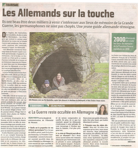 Article du Courrier picard du 20 janvier 2012, Aude Collina