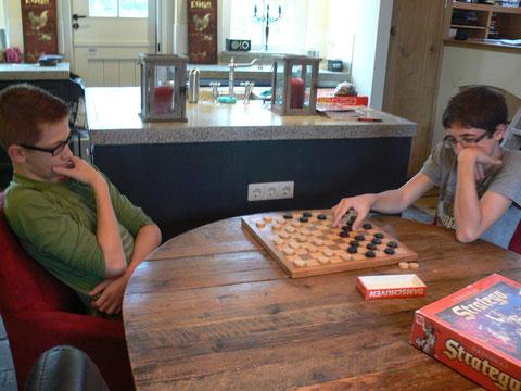 potje 'hersens kraken' oftewel dammen, schaken of stratego