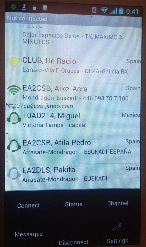 FUERA DE LA PANTALLA PARTE INFERIOR  IZQUIERDA PULSAR PARA VER CON FONDO NEGRO: CONNECT-MESSAGES- CHANNEL DISCONNECT- SETTINGS ESTE PARA EN TRAR EN EL FORMULARIO PARA MODIFICAR SI SE DESEA