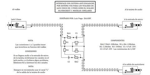 Interface para walkies de entrada única tipo Silvercrest,etc.(mejorado)