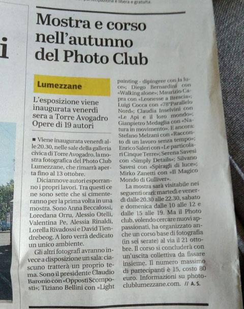 Giornale di Brescia 29 sett 2018