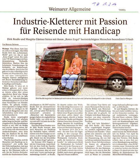 Industriekletterer mit Passion für Reisende mit Handicap