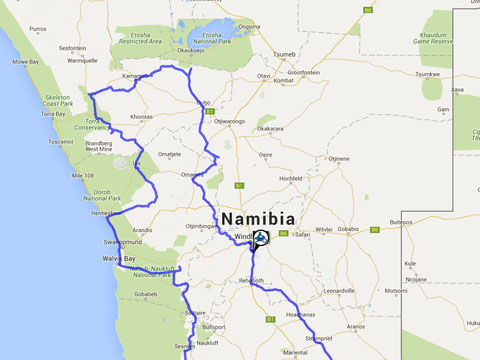Teilroute Namibia Nord