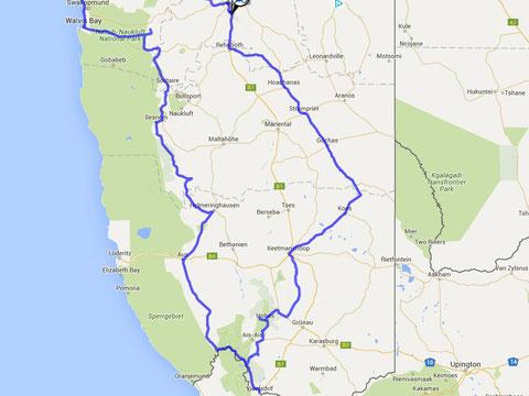 Teilroute Namibia Süd