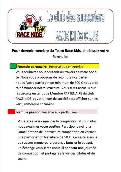 team race kids karting