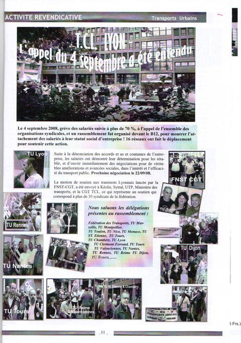 La CGT TaM à Lyon en soutien aux camarades  en lutte