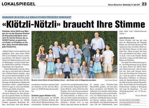 Artikel aus den Oberseenachrichten vom 12.6.2014