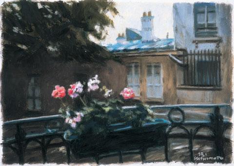 「ピカソ広場の花」 版画 21x30.5cm