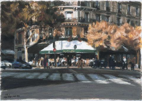 「秋のカフェ ドゥ・マゴ」 37x53cm