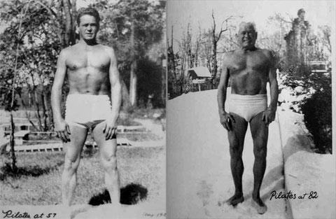 Joseph Pilates à 57 et 82 ans