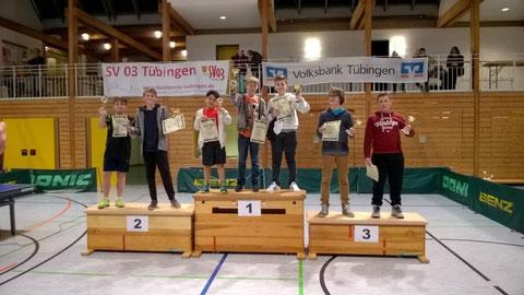 Die Erstplatzierten (v.l.n.r.): Velten Gruner (2. Platz U13), Fabius Gustedt (2. Platz U18), Kenan Krasnici (1. Platz U11), Hannes Hüttner (1. Platz U13), Rinor Rexhepi (1. Platz U18), Yannik Bux (3. Platz U18), Silas Gollhausen (3. Platz).