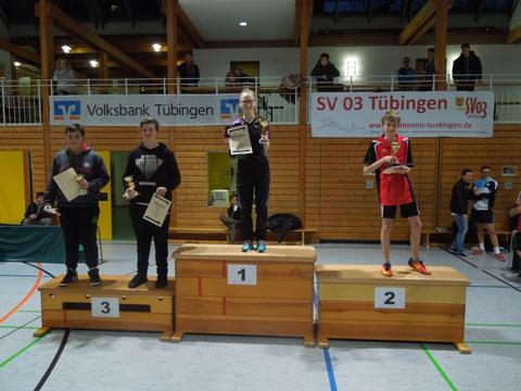 Die Sieger der U15-Konkurrenz: 1. Lisa Klett, TSV Betzingen; 2. Daniel Storich, TTC Stein; 3. Fabian Dornbusch, TSV Dettingen-Erms und Jona Lauer, TTC Grosselfingen