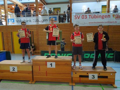 Die Sieger der U13-Konkurrenz: 1. Michael Storich, TTC Stein; 2. Luis Eberhardt, TTC Stein; 3. Leon Eberhardt, TTC Stein und Lukas Hetzel, TV Derendingen