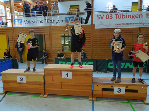 Die Sieger der U11-Konkurrenz: 1. Leon Fröhlich, SV 03 Tübingen; 2. Mika Sachs, SV 03 Tübingen; 3. Katharina Brunotte, SV Weilheim und Lysander Kiosoglou, SV 03 Tübingen