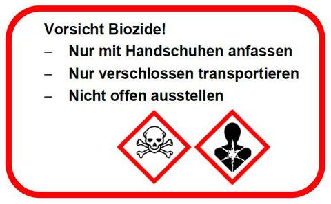 Warnhinweis-Etikette auf belasteten Objekten