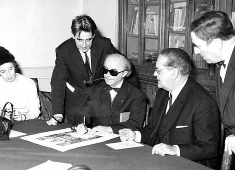 Signature du diplôme, de gauche à droite, Jeanne Demessieux, Norbert Dufourcq, Jean Langlais, Jean-Jacques Grunenwald, Maurice Duruflé.