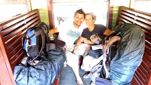Dingo and Fudgie on train from Kandy to Nuwara Eliya!