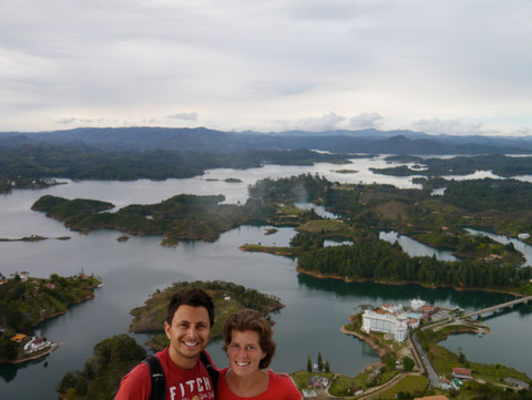 Dingo and Fudgie at Guatape, Colombia