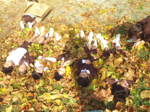 【写真4】落ち葉と遊んだり…