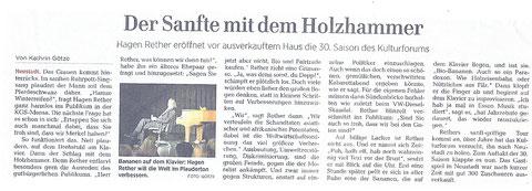 HAZ - Neustadt, 25.09.2017 über den Auftritt von Hagen Rether am 22.09.2017 im Kulturforum Neustadt