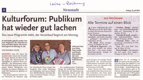 Leine-Zeitung vom 18.07.2014