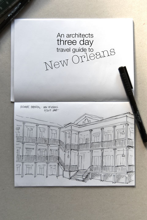 Buckner Mansion in the Garden District of New Orleans - travel sketch by Heidi Mergl Architect