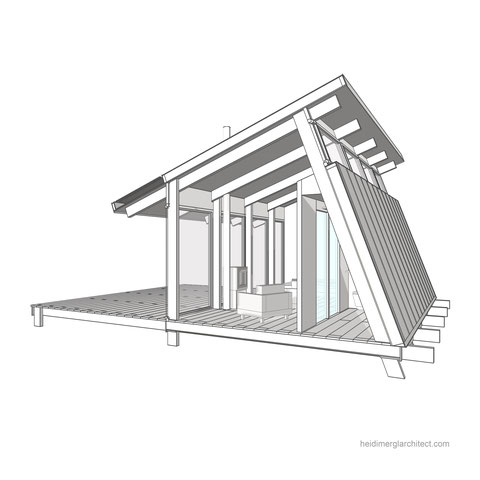 Sectional perspective sketch to illustrate a tiny house interior by Heidi Mergl Architect