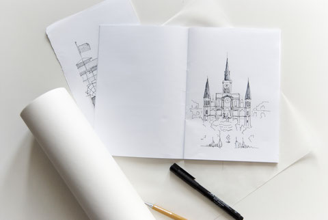 Jackson Square and St. Louis Cathedral Sketch by Heidi Mergl Architect