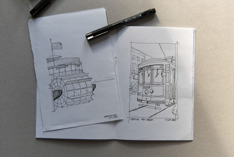 Steam Boat and Streetcar Sketch by Heidi Mergl Architect