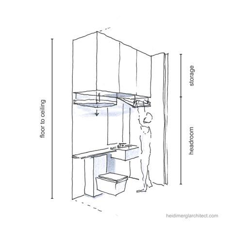 A Small Bathroom Design With Creative Storage Ideas By Heidi Mergl Architect