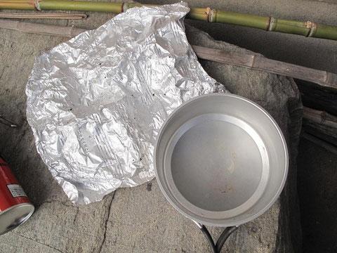 鍋は綺麗・ホイルにもご飯がこびりつかなかった