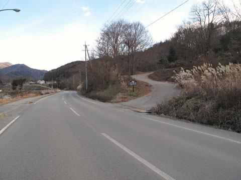 国道299 (大日向付近)ここを右(南)に入る。[中型バス入口]