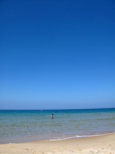 海を楽しむ妻