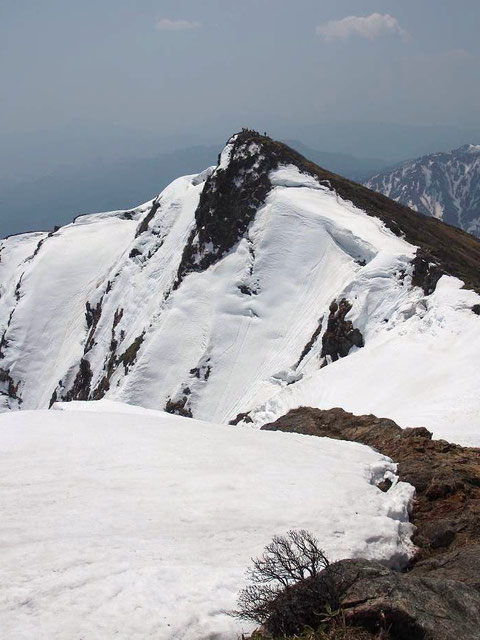 2014.4.27  谷川岳・オキの耳より見るトマの耳(山頂に人影が)