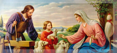 Jesus and his eartly parents: Joseph and Mary.