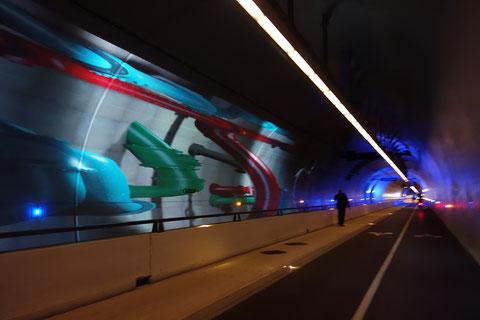 Tunnel de la croix Rousse Lyon Animations pour piétons et cyclistes