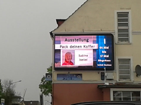 Gesponserte Werbung durch die Fa. Imoled (A. Will) aus Salzkotten für meine Ausstellung in Schloß Neuhaus an der Detmolder Str. in Paderborn