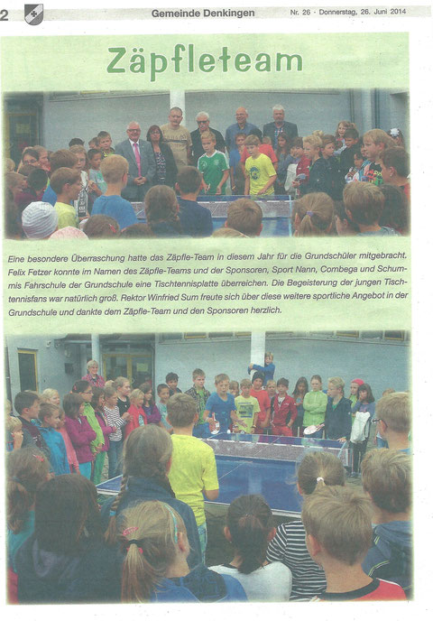 Bericht im Mitteilungsblatt der Gemeinde Denkingen 26.06.2014