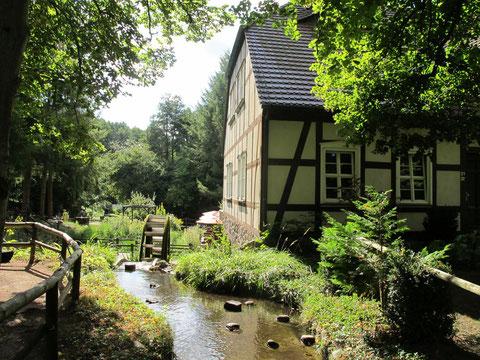 Der Binenbach fließt durch das Grundstück und betreibt das alte Mühlrad.