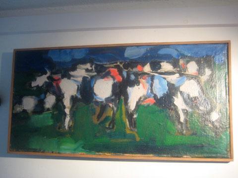 Landshap van koeien, 1962 olieverf
