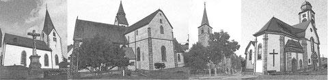 Kirchen von Radheim - Mosbach - Wenigumstadt - Pflaumheim