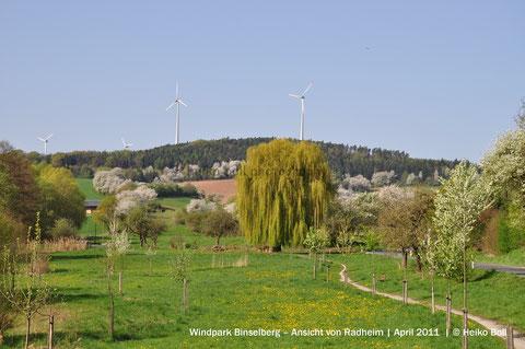 Windpark Binselberg – Ansicht von Radheim | April 2011  | © Heiko Boll