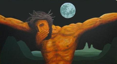 """Sergio Fabio Berardini, """"L'Anticristo"""", marzo 2003, acrilico su tela, cm 110×60"""