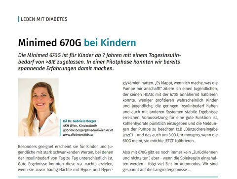 Dr. Gabriele Berger Minimed 670G Erfahrungen  Hybrid Closed Loop