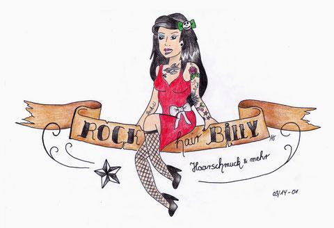 """Auftragsarbeit für Fa. """"Rockhairbilly Haarschmuck & mehr"""" - Die Rockabilly Göre wird zukünftig die Startseite der jungen Firma in Facebook zieren. / 24.03.14 © bodyART Galerie"""