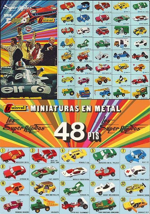 En este catálogo ya figuran algunas novedades de la serie 1976: los Porsche (núm. 22 y 26), el Renault 17 (núm 38) y las nuevas ruedas del Renault 5 (núm. 14).
