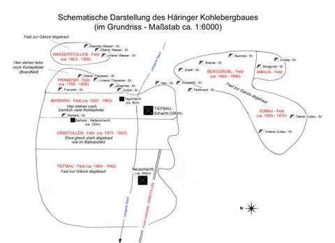 Das Häringer Kohleflöz- Situation um ca. 1950 (Alfred Löhmer)
