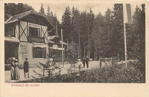 Mittewald bei Villach Restauration um 1900 (Sommersalon mit lieblicher Veranda)