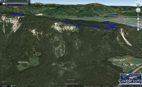 Wunderbar auch auf Google earth zu sehen, das Gebiet des historischen Bergsturzes des Dobratsch von 1348, durch das unsere Exkursion führte (von der Ortschaft Unterschütt zur uralten Kulturlandschaft Weinitzen)